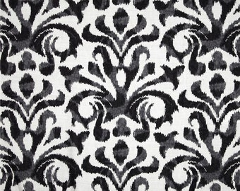 Two 20 x 20  Designer Decorative Pillow Covers - Duralee Ikat Damask - Black/Grey