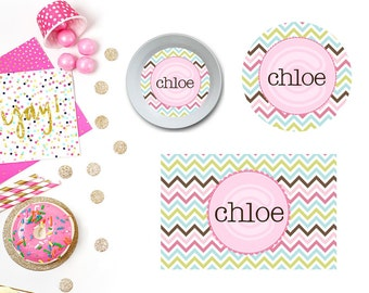 Fun Chevron Plate/Bowl/Placemat . Personalized Plate/Bowl/Placemat . Girls Plate/Bowl/Placemat . Preppy Plate/Bowl/Placemat . Melamine Plate