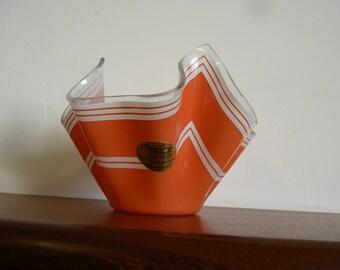 VINTAGE Chance Glass Handkerchief Vase ORANGE 1960s