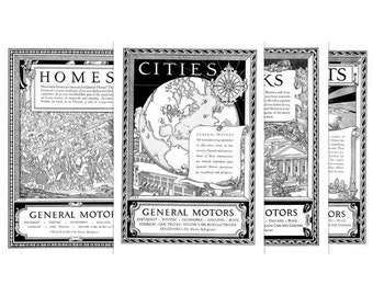 1920's Advertising Art, GM, Cities, Homes, Exports, Banks, Series, Vintage Ads, Business Decor, Instant Download Printable, Set of 4