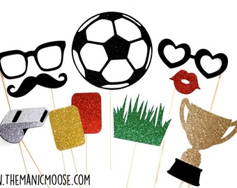 Soccer Photo Booth Prop Set - 10 piece set - Birthdays, Weddings, Parties - GLITTER Photobooth Props