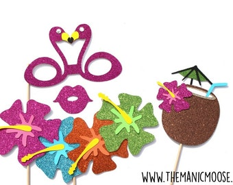 Hawaiian Photo Booth Props ~ 4 Piece Prop Set ~ GLITTER Photobooth Props ~ Props Come Fully Assembled