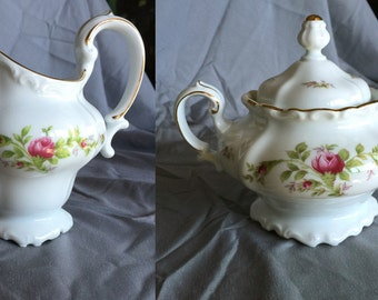 Johann Havilland Moss Rose antique footed sugar bowl and cream pitcher creamer green Bavaria backstamp back stamp
