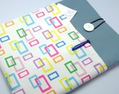 SALE - iPad Air case, iPad cover, iPad sleeve with 2 pockets, PADDED - Colourful rectangle (74)