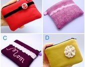 BIG Sale - Small zipper pouch / coin purse /card bag (padded) (ZS-GP12)