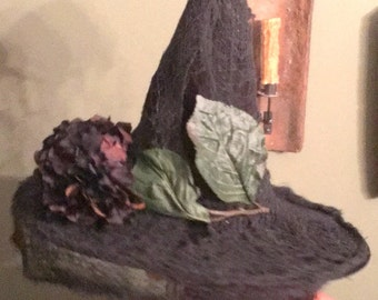 Witch Hat Black Tattered Netting