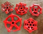 Red Industrial Steel - Cast Iron Valve Handles, Steam punk,  Assemblage, Garden, Collection of 5 Heavy Duty