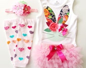 Pinkalicious Easter Bunny Onesie, Bloomies, Headbnd and Leg Warmers Clothing Set