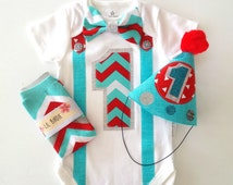 1st Birthday Boy Bodysuit, Party Hat & Leg Warmers Chevron Red and Aqua Blues Bow Tie and Suspenders All In One One Piece Bodysuit