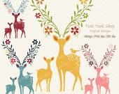 Formosan deer high quality SET - (10x15 inch) Clip Art