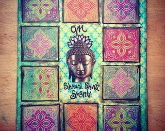 Om Shanti Shanti Shanti yoga art print 8x10