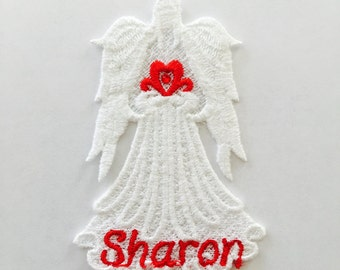Machine Embroidered Angel, Lace Angel, Angel with Heart, Angel with Name and matching swarovski