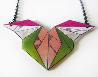 GEOMETRIC FEATHER necklace // unique hand-drawn shrink plastic necklace, jewelry, jewellery, nickel free green and peach necklace