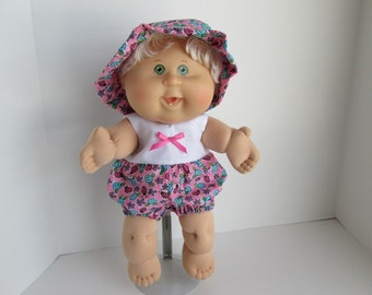 """14"""" Baby Cabbage Patch Ladybug/Flower Print and White Romper with Matching Hat"""