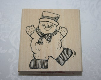 NEW Snowman Snow Man Winter Holiday Rubber Wood Stamp