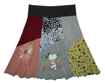 Snoopy T-Shirt Skirt Women's Medium Large Upcycled Skirt Hippie Skirt The Peanuts recycled clothing Twinkle Skirts Twinklewear
