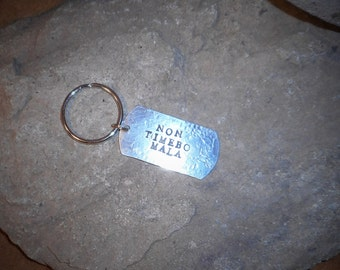 Supernatural NON TIMEBO MALA Colt Quote Dog Tag Keychain Hand Stamped Aluminum
