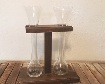 Vintage Yard Ale Glasses With Wood Base