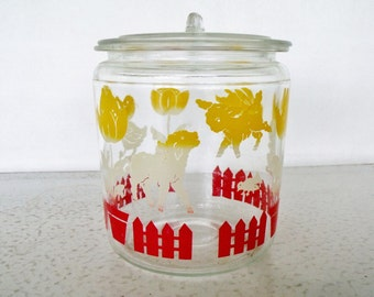 Glass Jar Children's Nursery with Lid Layette Lambs Rabbits Ducks Vintage