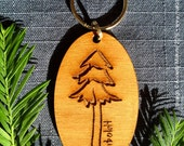 Laser-engraved wooden keychain - redwood tree