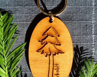 Laser-engraved wooden keychain - redwood tree