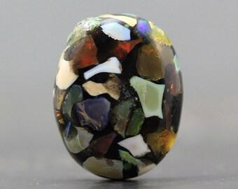 Mosaic Opal Stabilized Cabochon - July Birthstone - Semi Precious Gemstone Jewelry Crafts Colorful Stone Jeweler, Collector (CA5801)