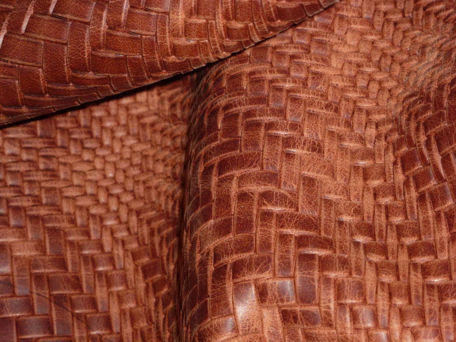 Basket Weave Pattern On Leather : Leather quot x chestnut brown braided basket weave pattern