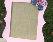 Earring Holder, Frame, Burlap, Earring Stand, Jewelry Organizer, Fabric Flower, Wood, Pink, Ready to Ship