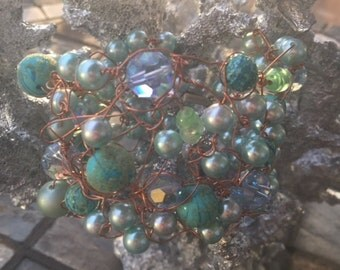 Aqua beaded, copper wire bracelet
