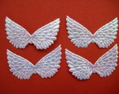 Small WHITE Iridescent Angel Wings, Fairy Wings for Scrapbooking, Crafting, Collage Altered Art, 1.5 inches, 12 pieces