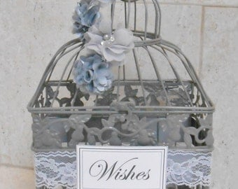 Small Gray Birdcage Wedding Card Holder / Wedding Card Box / Wedding Box / Gray Wedding / Silver Wedding / Wishing Well / Wishes Box