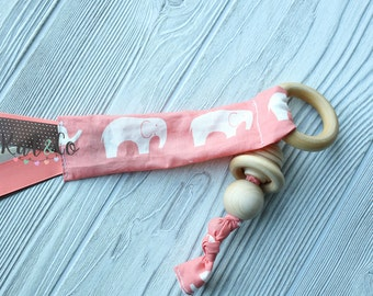 Ready to ship Natural maple teething ring in coral elephant fabric.  Can be personalized.