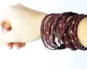 Leather Bracelet / Original Sliced Wrap Cuff / Maroon Eclectic