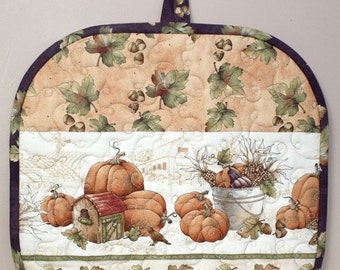 SALE Fall Tea Cozy, Quilted Tea Cozy, Pumpkins Acorns Tea Cozy, Insulated Tea Cozy, Thanksgiving