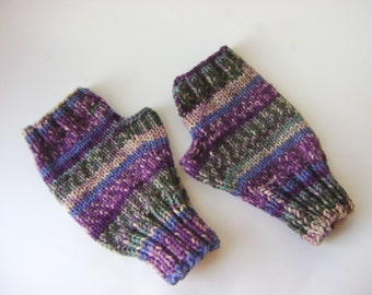 Hand Knit Fingerless Gloves in Purple Green Stripes Multicolored, Women's Hand Knit Gloves