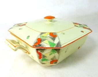 Art Deco Geometric Tureen, Staffordshire Palissy 'Futuresque' Handpainted Lidded Vegetable Serving Dish 1930s