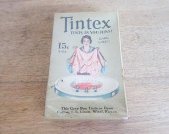 Vintage Advertising, Vintage Tintex Rinse as You Tin Dye Packet, Dark Green, Unopened