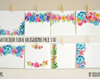 Watercolor Floral Backgrounds with Text Space, Watercolor Flowers Backgrounds Pack 3, Watercolor Papers for Digital Scrapbooking