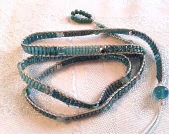 Triple Wrap Handbeaded Bracelet, OOAK, Sea Greens.