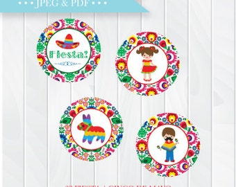 Kids Birthday Fiesta Cupcake Toppers, Instant Download Favor Tags, Cinco de Mayo Printable Party Favor Tag, Mexican Fiesta Favors