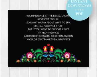 Fiesta Bridal Shower Honeymoon Cards, Instant Download, Printable File, Digital File, Cinco de Mayo Bridal Shower No Gifts Insert Card