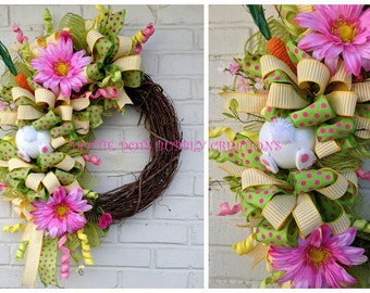 Spring Easter Bunny Grapevine Wreath, Easter Floral Grapevine Wreath, Easter Jute Mesh Bunny Wreath