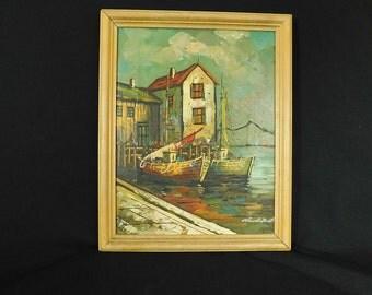 Vintage MCM Italian oil painting fishing  boats at harbor signed Claudio Bonetti