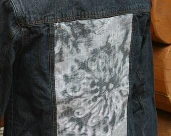 Jean Jacket, Women's Jacket, Flower Power, Shimmery, Slate on gray