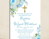 Boho Peony Flower Boy Baptism Invitation Watercolor Floral Invite