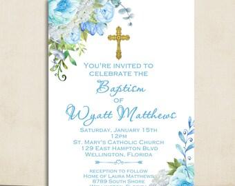 Boy Baptism Invitation - Christening Invitation - Watercolor Floral Baptism Invite - Printable
