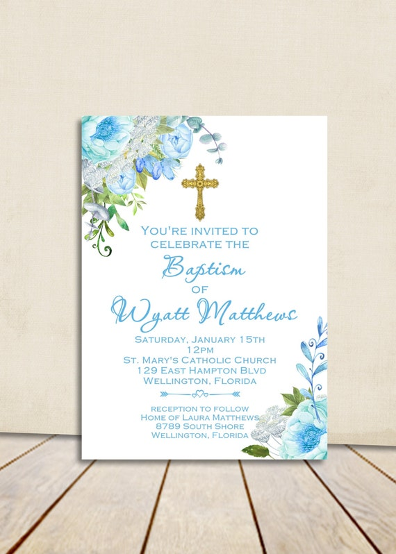Boy Baptism Invitation - Christening Invitation - Watercolor Floral Baptism Invite - Printable