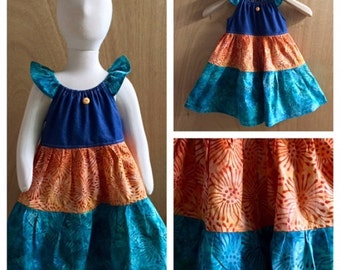 Batik and Denim Peasant Style Summer Dress, size 3t