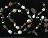 Vintage and new wire wrapped bead lot, necklace or loose beads, destash