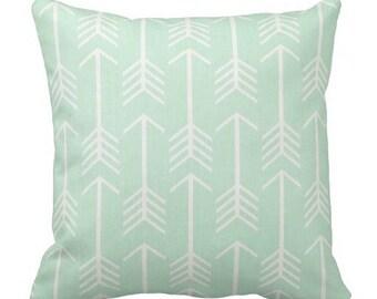 arrow pillows, mint green pillows, kid room pillows, chair pillows, nursery pillows, boho pillows, arrow pillow cover, 20 x 20 cover, lumbar